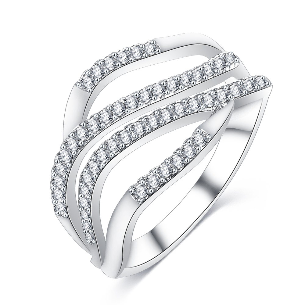 Custom Jewelry Latest 18 Carat White Gold Diamond Ring Brass Micro Pave Cubic Zirconia Ring CRI1021, Rose gold / silver white