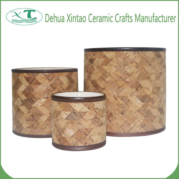 Home Garden Bamboo Weaving Pattern Three-piece Ceramic Plant Pots