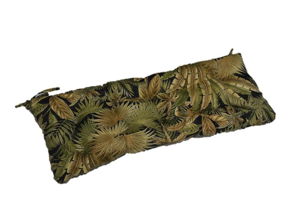 "Black Green Tan Tropical Palm Leaf Indoor / Outdoor Tufted Cushion with Ties for Bench, Swing, Glider - Choose Size (48"" x 19"")"