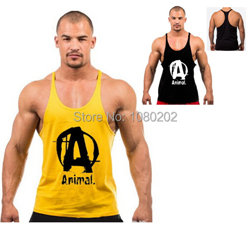 a1fa604b75961 Get Quotations · 2015 100% cotton anmail bodybuilding fitness gold Gym men  bodybuilding tank top sport tops gym