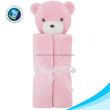 Comfortable soft animal head plush bear baby blanket cute cheap 100% organic cotton baby blanket
