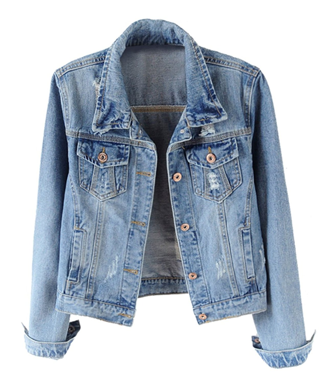 fe62f24eb09dd Get Quotations · Trendy XU Spring Women Vintage Slim Fit Denim Coat  Destroyed Cropped Jeans Jacket