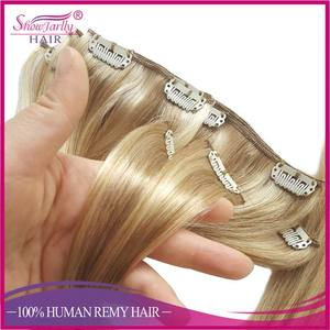 100% human remy hair made cosmetic factory supply clip for hair extensions brown with light blonde colors streaks