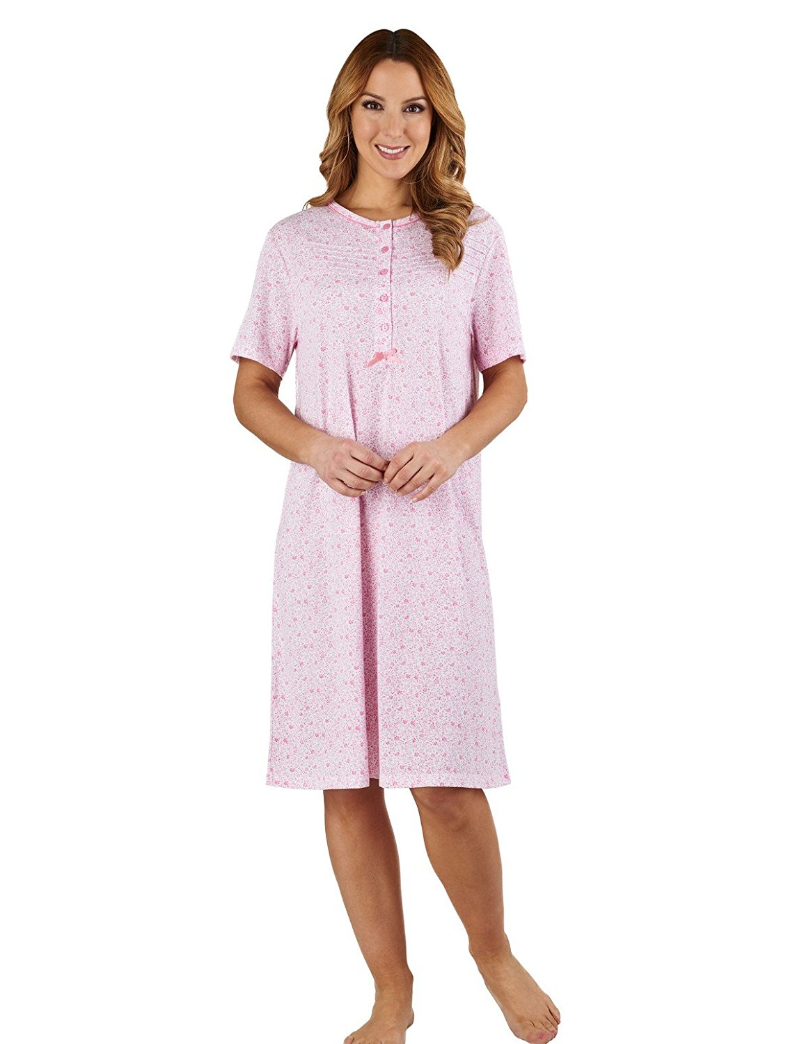 Get Quotations · Slenderella ND1101 Women s Ditsy Floral Pink 100% Cotton  Jersey Nightdress 8c342b7cc