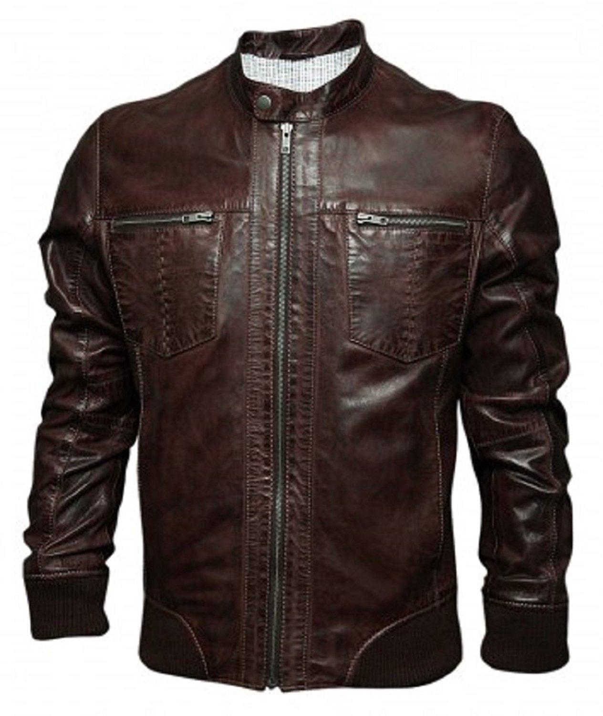Bestzo Men's Fashion lamb Leather biker jacket Brown S