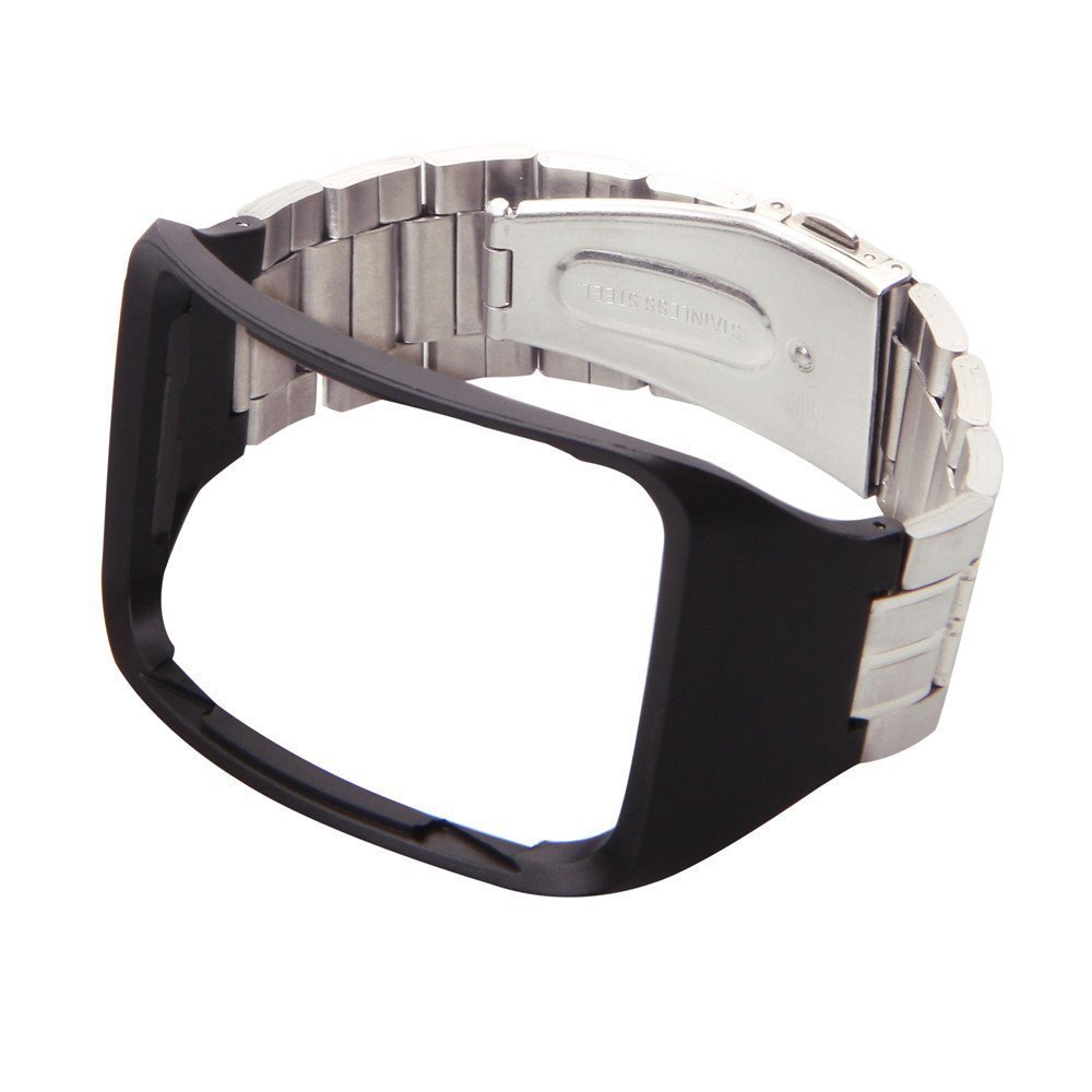 Yavive Replacement Stainless Steel Metal Band Wristband Bracelet Strap For Samsung Galaxy Gear S SM-R750 Smart Watch (silver metal strap with black silicon)