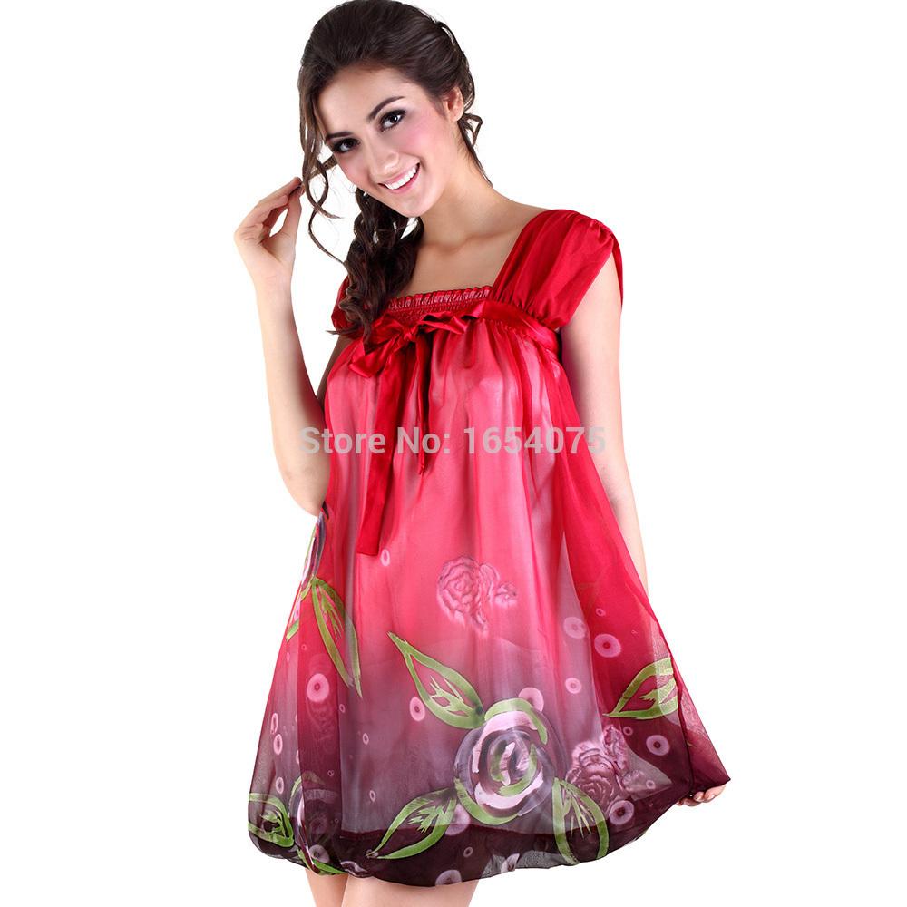 Get Quotations · Women Nightwear nightdress Summer silk dress Clothing Women  night Casual Sleepwear Pajamas Sexy Lady Chiffon Vest 5aac2ff55