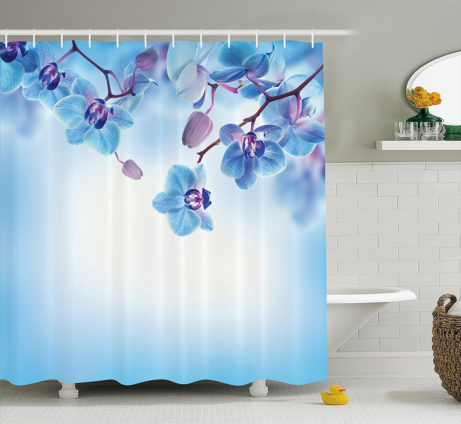 Ambesonne Flower Decor Shower Curtain, Orchids Asian Natural Flowers Reflections on Water for Spring Calming Art, Fabric Bathroom Decor Set with Hooks, 84 Inches Extra Long, Blue and Purple