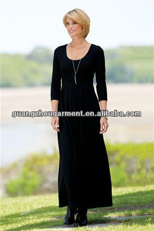 OEM new fashion Scoopneck Long Knit long sleeve maxi dress