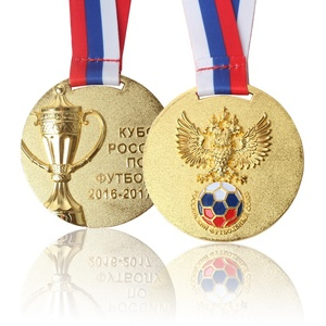 Copper Plated Gold Custom 3D Double Logo Football Sports Award Medal with Sublimation Ribbon Lanyard