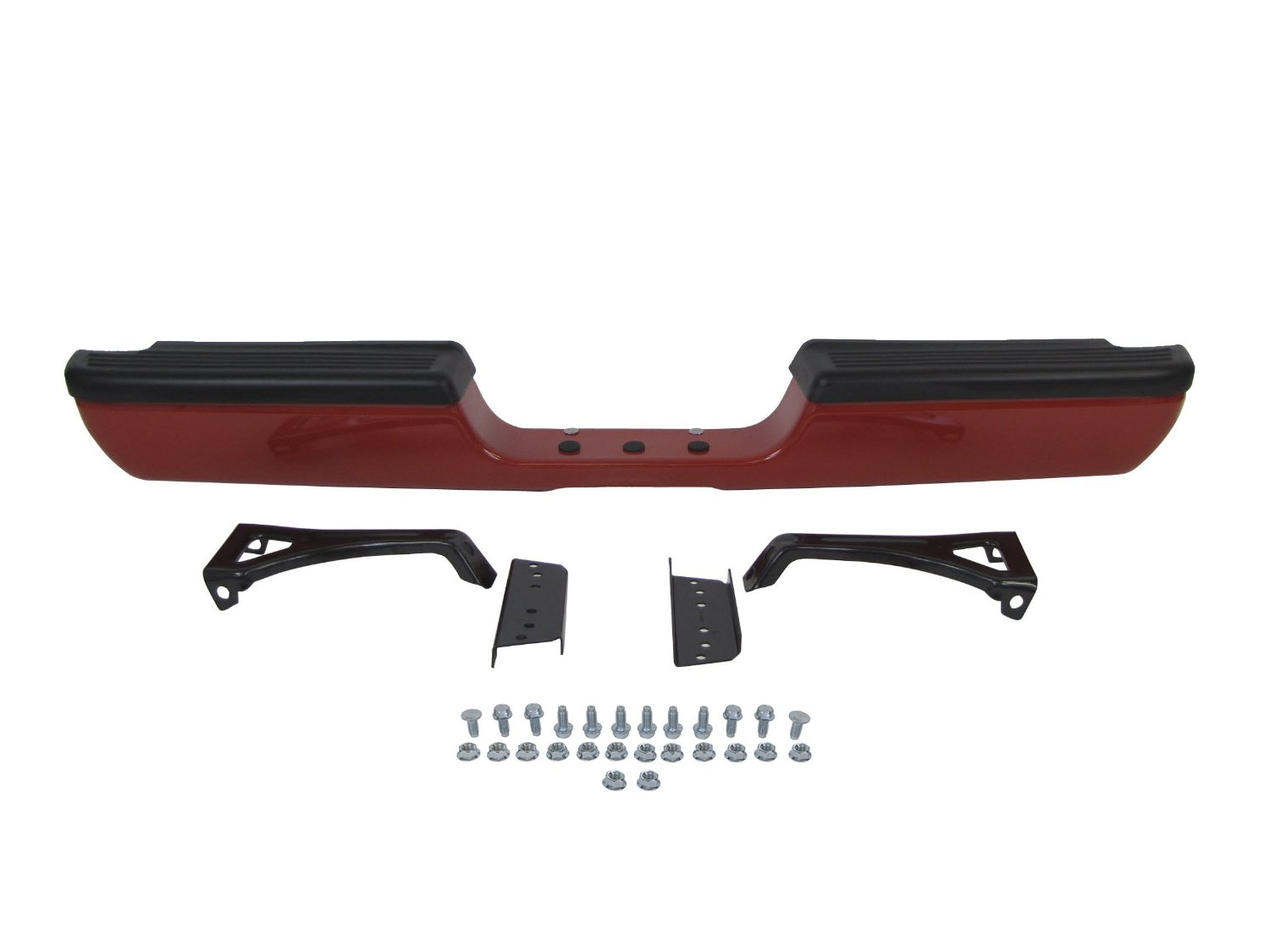 Painted Flame Red Clear Rear Step Bumper Full Assy (With TOP Pad, Outer Bracket, Inner Bracket, Hitch Bar, Plug, Screws) 94-01 Dodge Pickup Ram 1500 / 94-02 RAM 2500 3500 Pickup Ch1102332