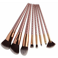 2017 best selling products! 8pcs top grade metal rose gold color make up brushes synthetic professional cosmetics makeup brushes