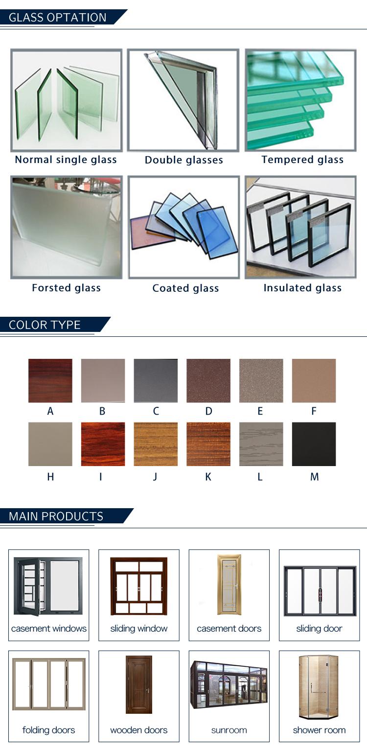 Chambre modèle coulissante en aluminium fenêtre avec grille