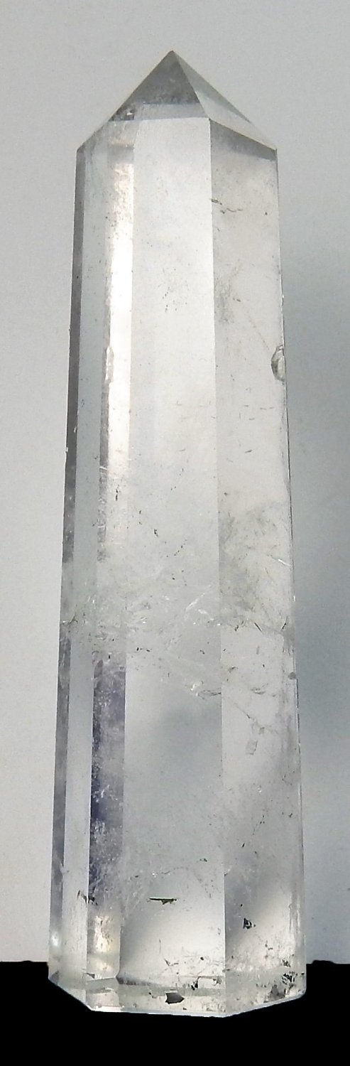 Natural Clear Quartz Crystal Free Standing Obelisk Tower with 6 facet point, Charged Chakra Reiki Metaphysical Crystal therapy