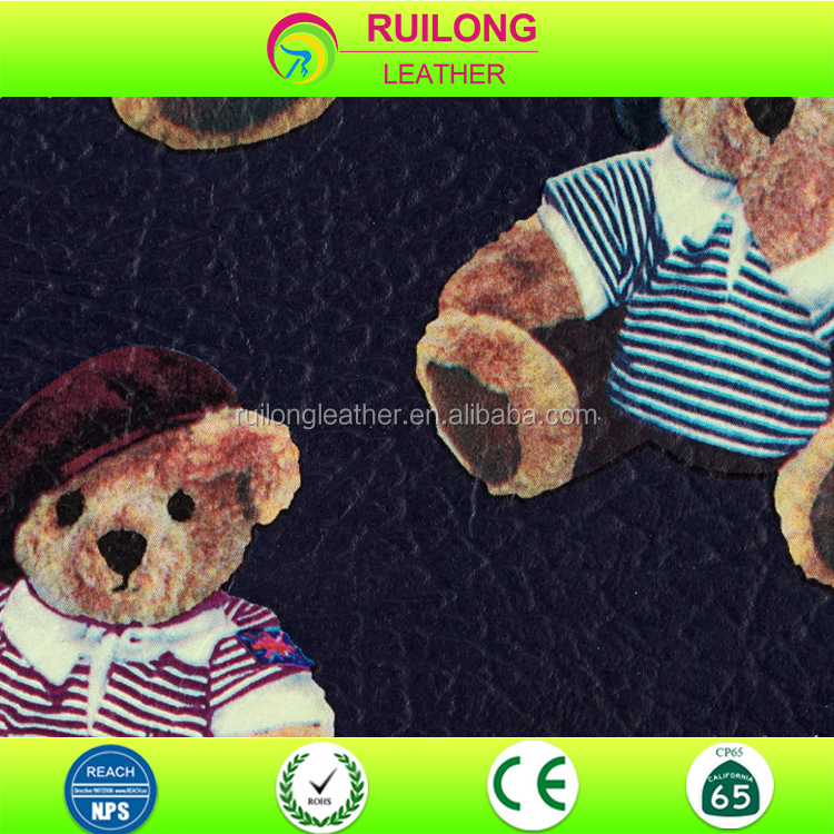 Cute Teddy Bear Pattern PU Animal Pattern Leather For Bag or Decoration