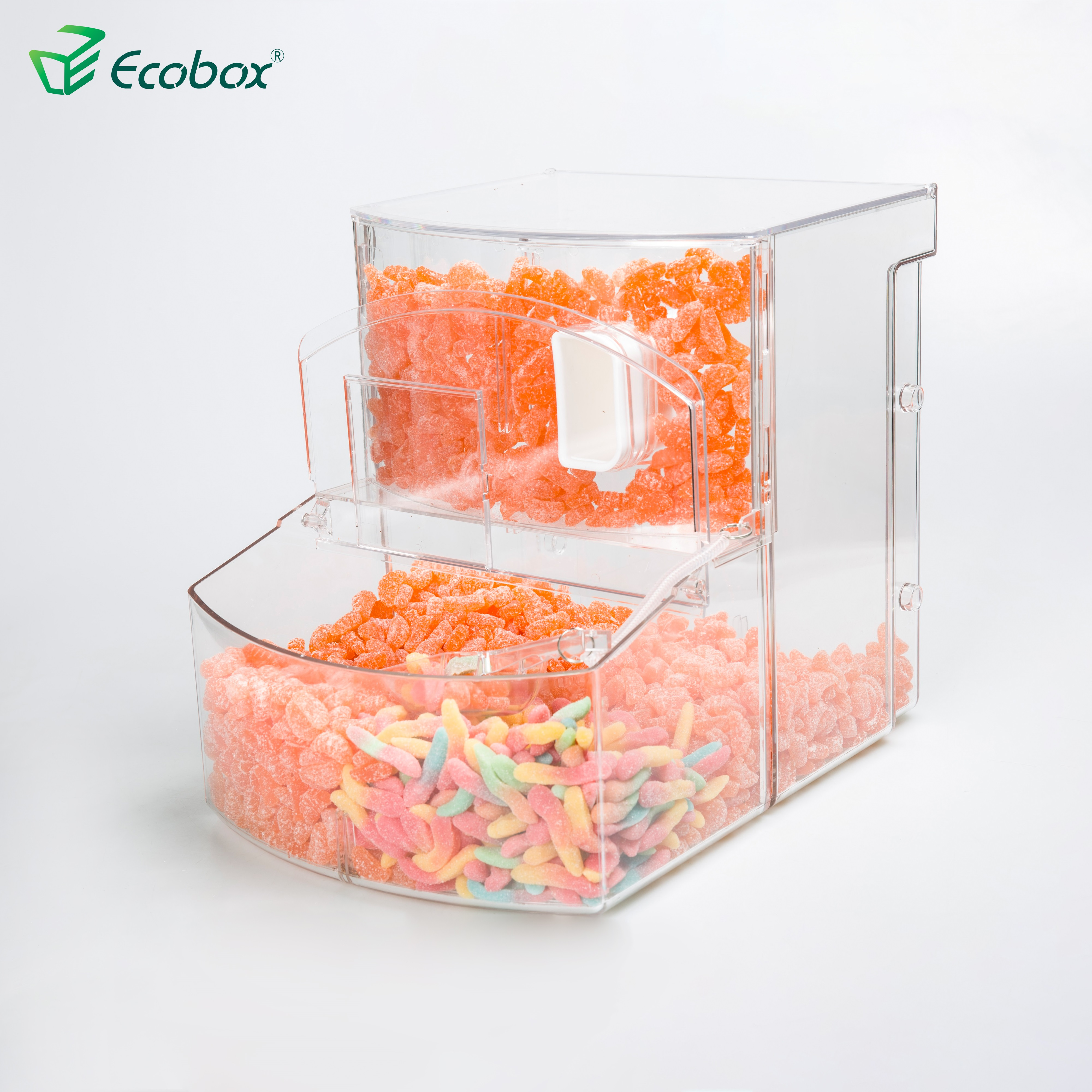 Transparent wholesale plastic box bulk food containers biscuit candy storage bins scoop bin