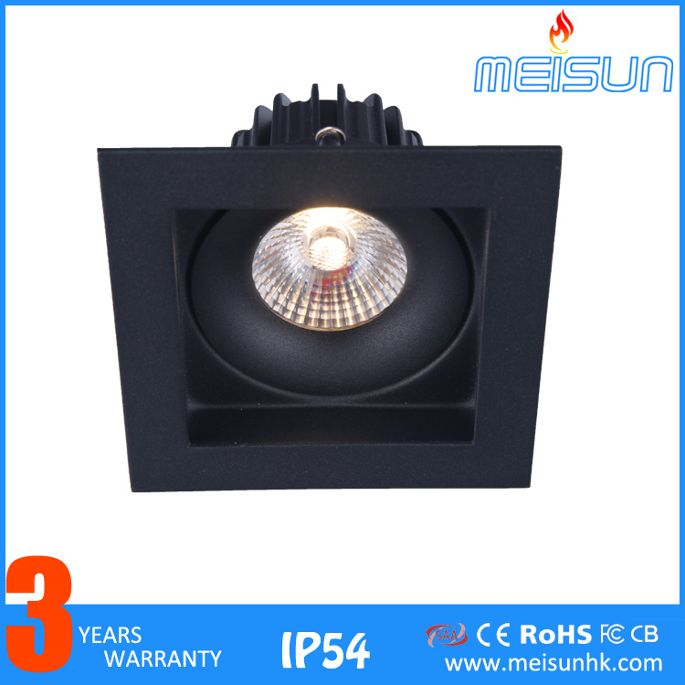 "Hot sale MS31054 10W 4"" square dimmable led downlights black"