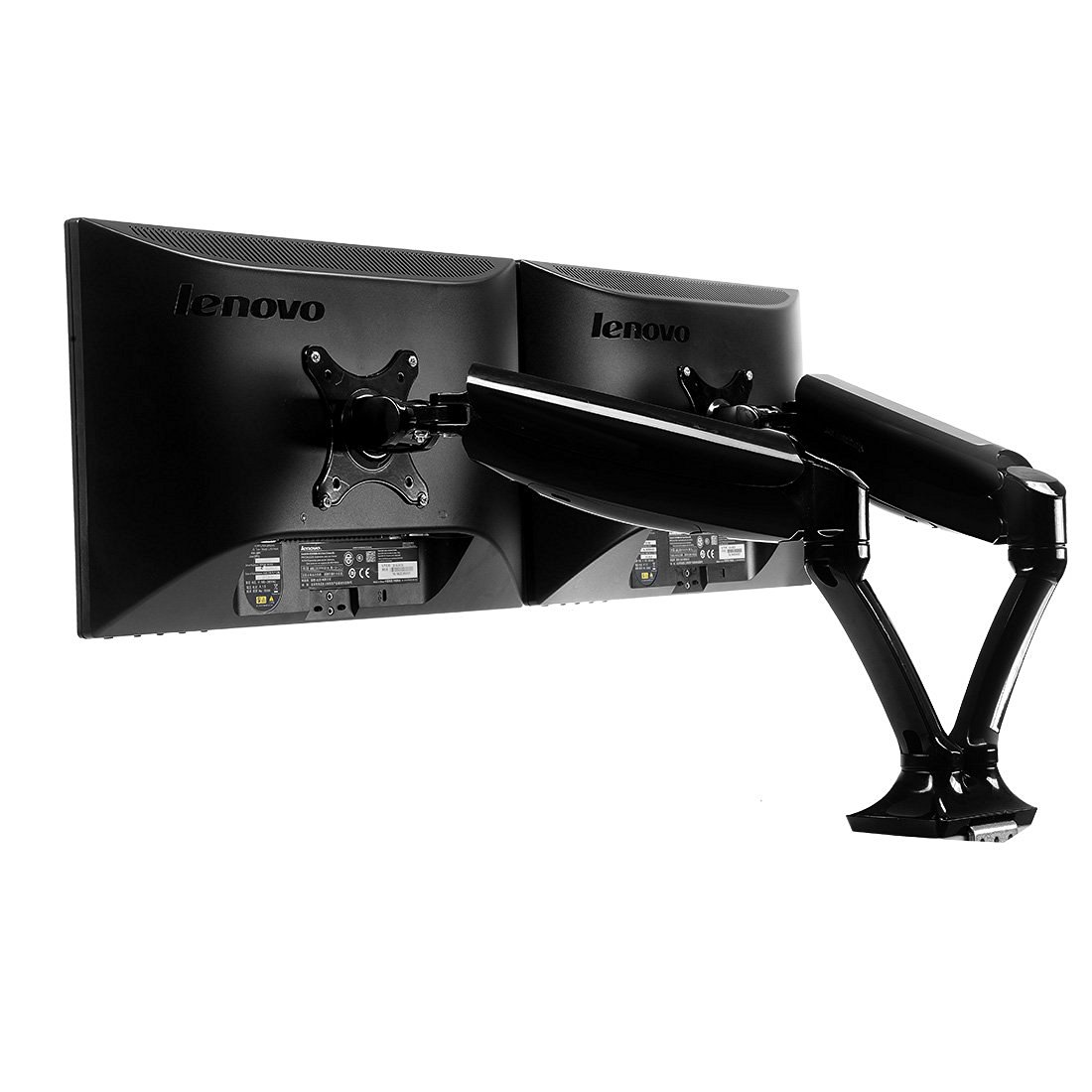 Fleximounts Heavy Duty Dual Arm Monitor Stand ,Full Motion Desk Monitor Mount with Swivel Gas Spring Monitor Arm,8.8-22 lbs Weight-bearing/per arm fit most 10''-27'' Samsung/LG/HP/AOC/Dell/Asus/Acer LCD Computer Monitor