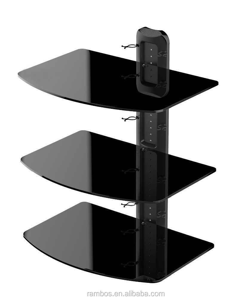3 Tiers Av Gl Wall Mount Stand Shelf Cd Dvd Cable Tv Box Rack Display Product On Alibaba