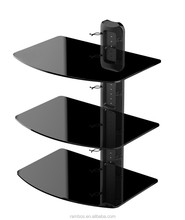 3 Tiers AV Glass Wall Mount Stand Shelf CD DVD Cable TV Box Rack