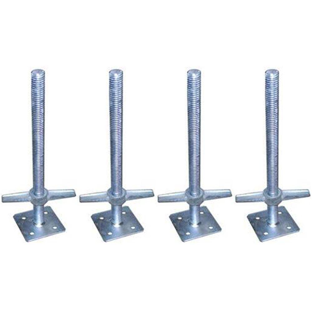 Steel Scaffolding Adjustable Heavy Duty Base Plate 4 Pack Leveling Jacks 24 In