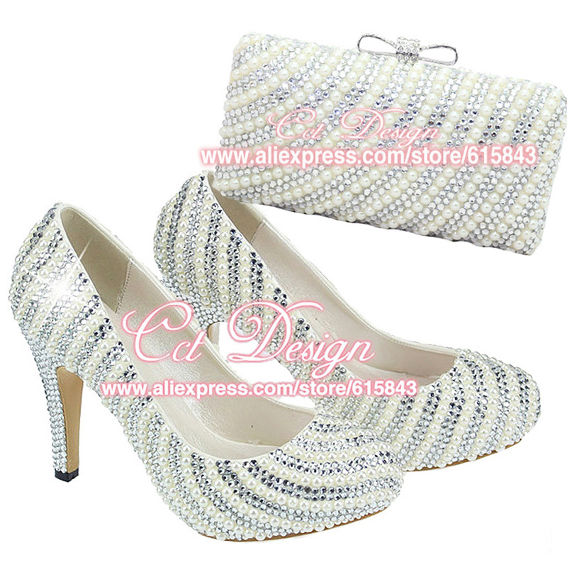 2015 Customized Handmade Women Silver Crystals And Ivory Pearls Wedding High Heels Bridal Shoes And Matching Bags Free Shipping