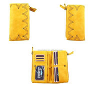 New design carve designs luxury style double zipper high-capacity yellow leather wallet women