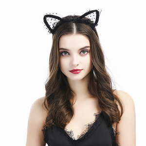 Lace ears bachelorette Black headband Hair accessory Ladies night party favors kitty cat ears head bands DT100