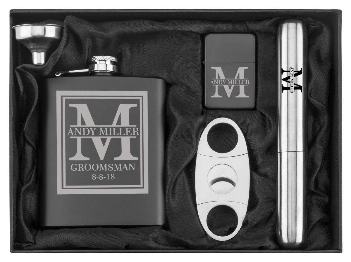 Custom Initial Deluxe Engraved 7 oz Flask Funnel Cigar Cutter Lighter Stainless Steel Gift Box Set Personalized