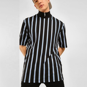 PATON T-shirt manufacturer custom All over stripes Mock Turtleneck Striped men's blank t shirt