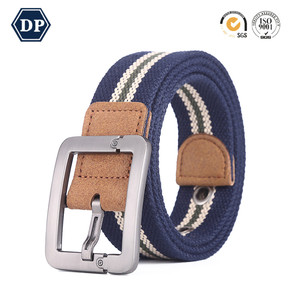 Fashion Plain Polyester Webbing Belt With Metal Buckle Custom Military Boys Canvas Belts