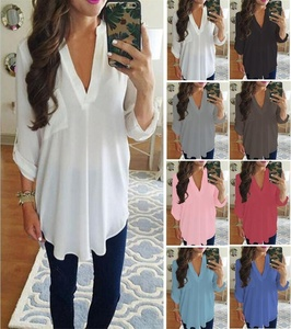 Instyle S-XXXXXL Plus Size Women's Fashion Chiffon Shirt V-neck Long Sleeve Loose Tops T Shirt