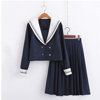 High-end double-breasted Japanese JK uniform skirt Soft sister sailor suit College style japanese school girl uniform