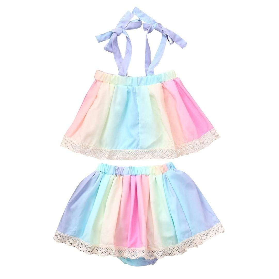 5e6449490c4 Get Quotations · Baby Girls Super Cute Outfits Summer Rainbow Gradient  Sling Top + Skirt 2pcs Set Size 0