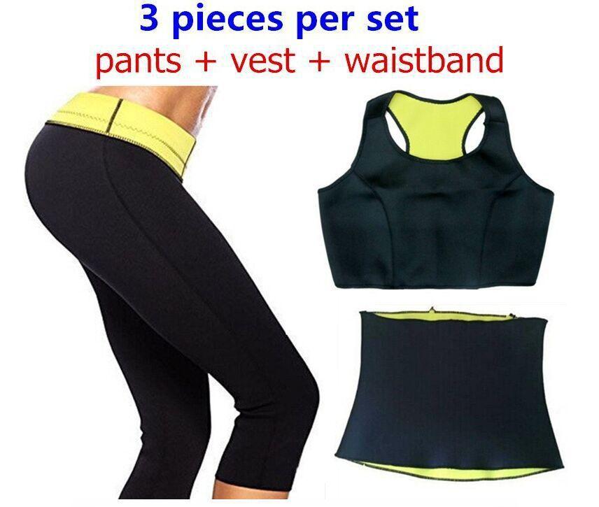 Бесплатная доставка 2015 ( брюки + жилет + пояс ) горячая распродажа супер-стретч неопрена шейперы спортивные брюки комплект женщин для похудения устанавливает