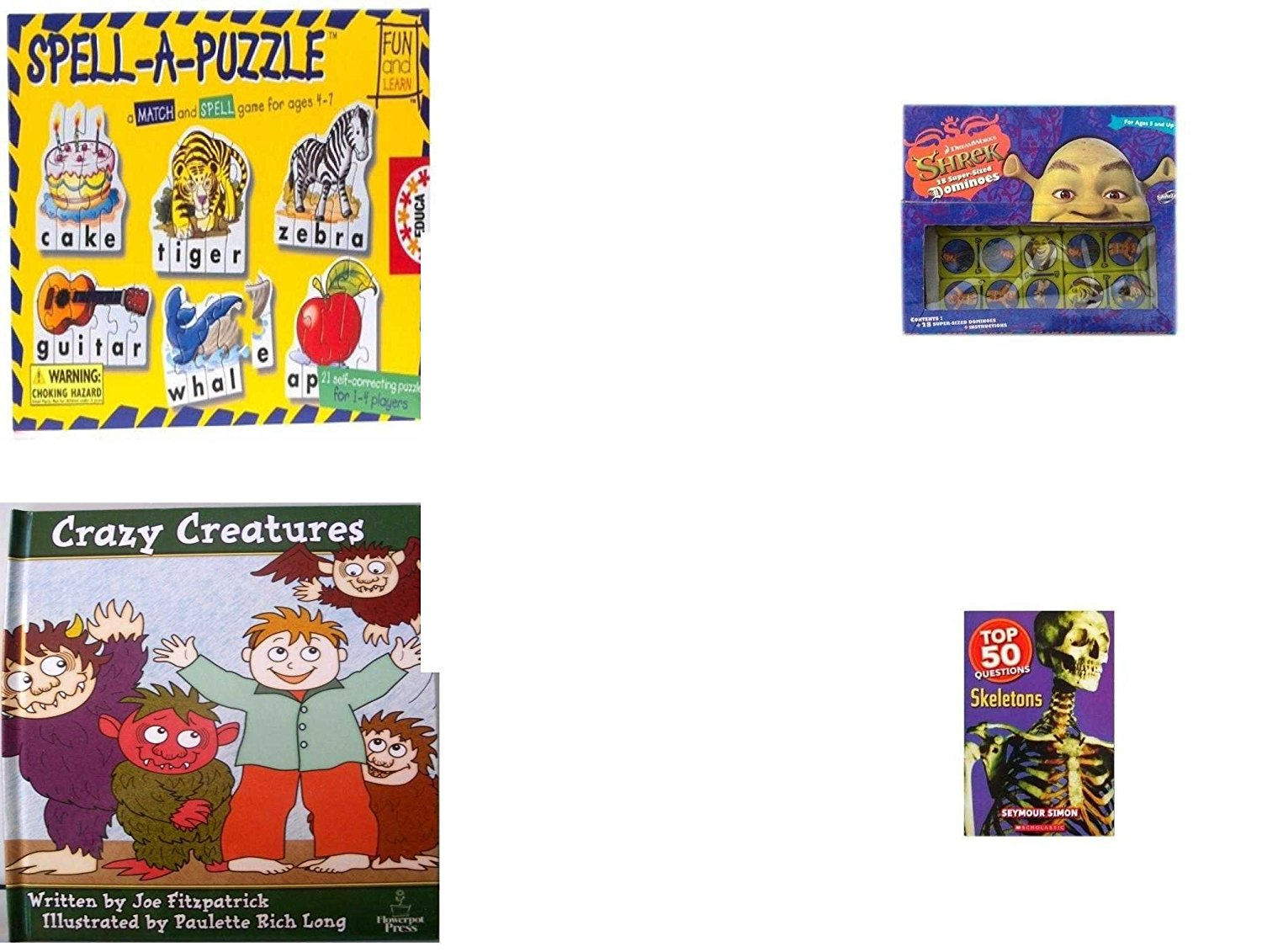 Children's Gift Bundle - Ages 3-5 [5 Piece] - Spell A Puzzle Game - Shrek Dominoes Toy - Ty Beanie Baby - Beani the Gray Cat - Crazy Creatures Hardcover Book - Top 50 Questions: Skeletons Paperback