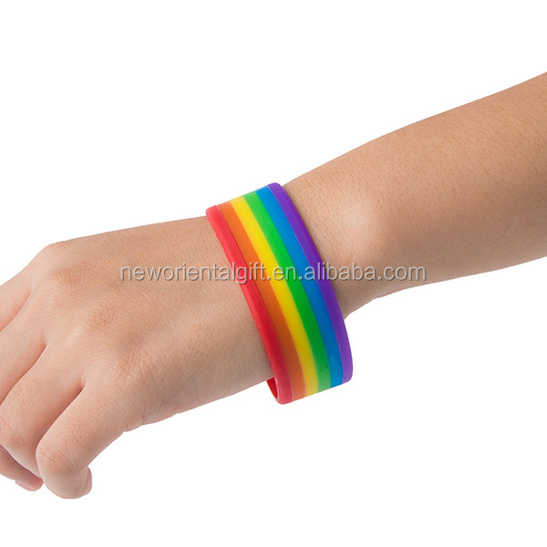 Rainbow Layer Silicone Wristbands/6 colors rainbaw bracelets/rainbow bangles for Couples