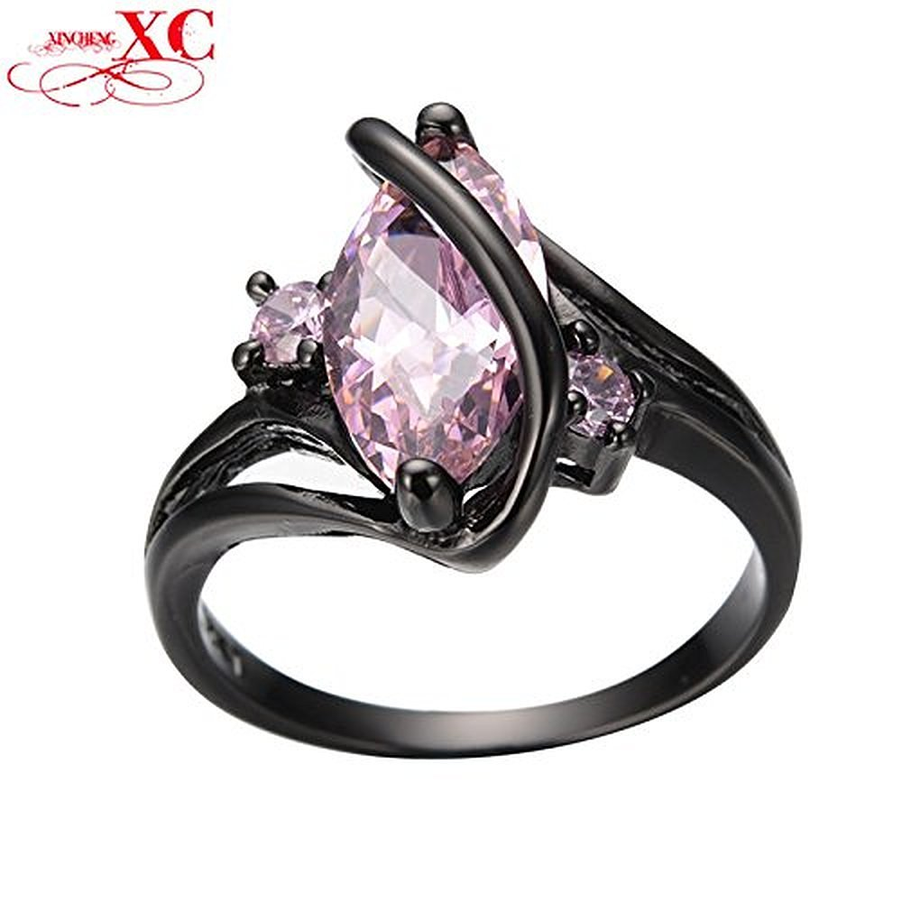 Sugar Memory Fashion S Design Pink Sapphire Vintage Jewelry Women Wedding Ring Anel Aneis Black Gold Filled CZ Engagement Rings Sz6-10