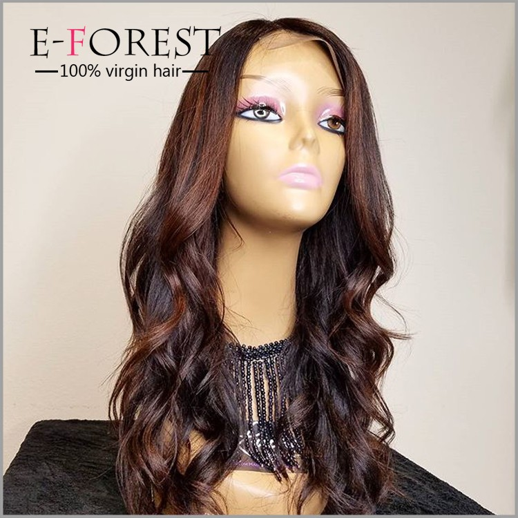 swiss lace baby hair around premier dark brown human hair wet and wavy cheap lace front wig