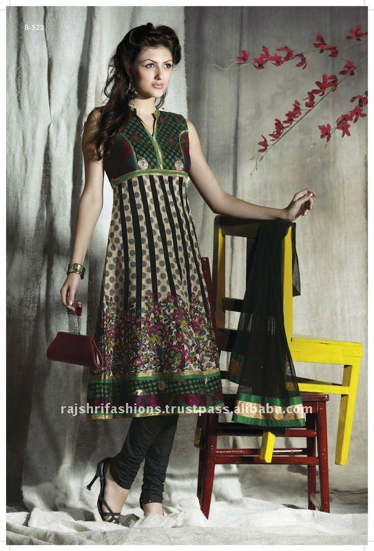 Black Designer Churidar Kameez