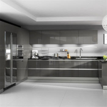 Genial High Gloss Grey Pre Made Kitchen Cupboards And Kitchen Storage Cabinets  With Flexible Countertop Edging For