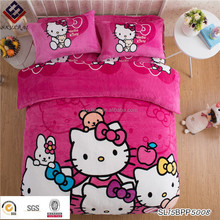Hello kitty cartoon design coral fleece flannel comforter cover bed sheet bedding sets