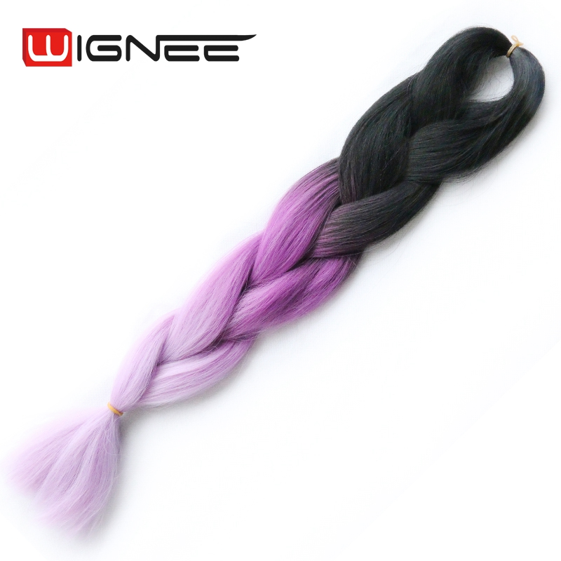 3 Tones Ombre Synthetic Hair Jumbo Braid 100g 24 Inch Black Pink Color yaki Straight Crochet Braiding Hair