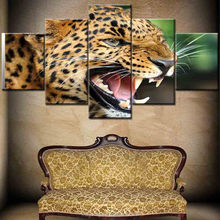 Home Goods Oil Painting 5Piece Living Room Wall Art Tiger Animal Canvas Wall Painting Pictures Framed Artwork