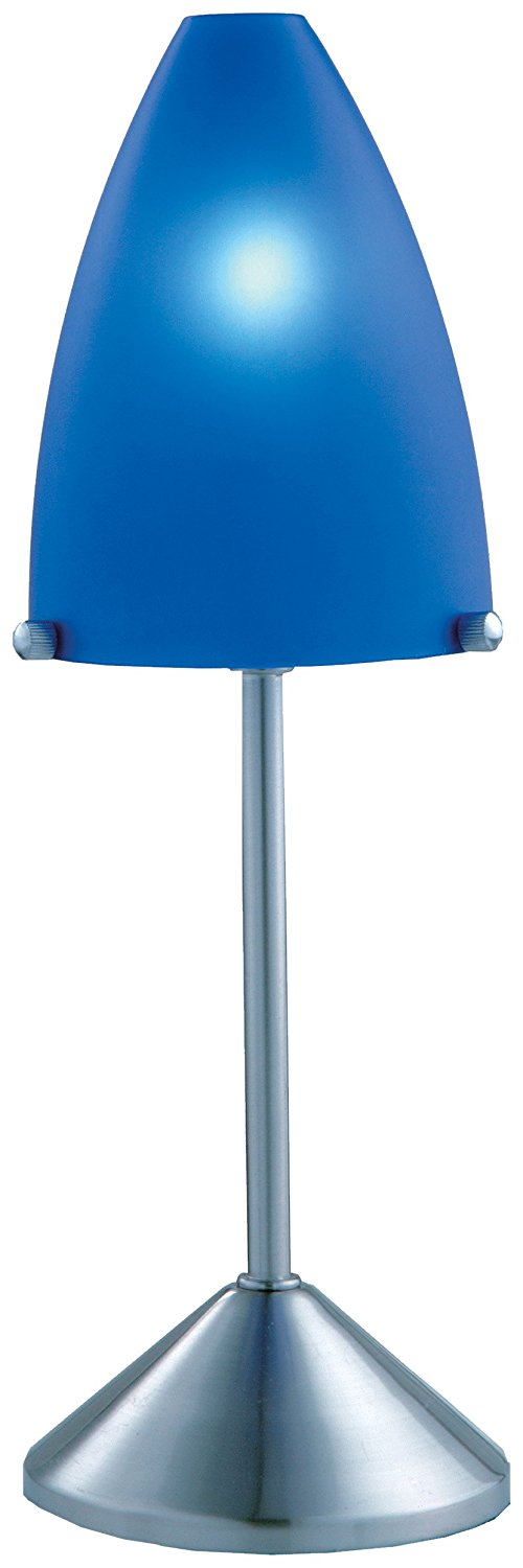 Normande Lighting FP3-203 13W Daylight Spectrum Rocket Accent Lamp, Blue Plastic Shade and Brushed Steel Base