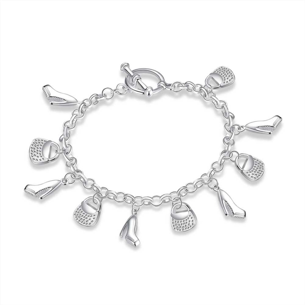 Fashion Jewelry Charm Pendants New Sterling Solid Silver Plated Luxury 10 Charms Bangle Bracelet