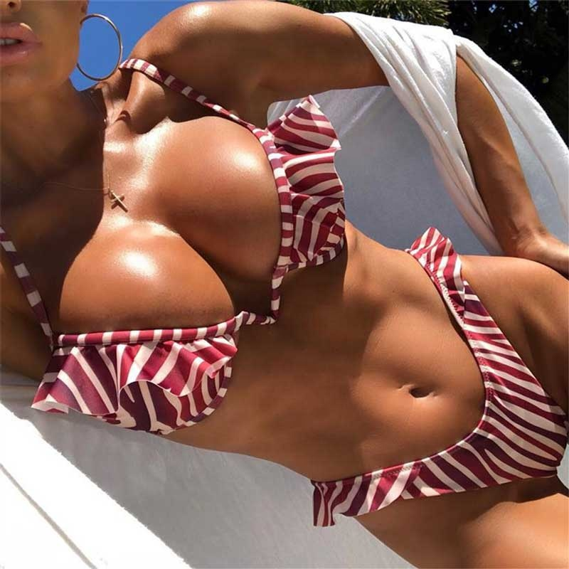 Alibaba.com / Woman sexy striped tight bikini private label swimwear women sexy thong bikini swimsuit