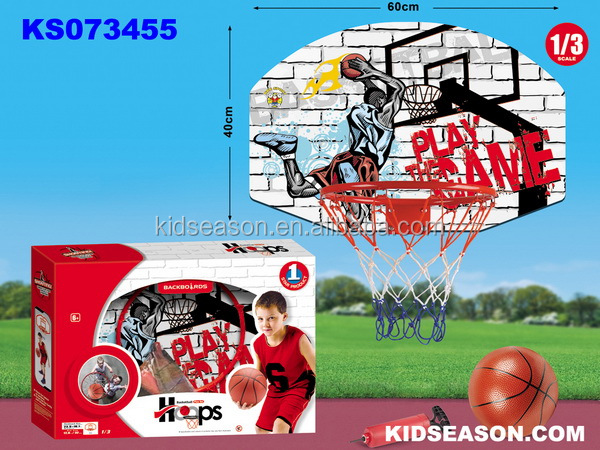 KIDSEASON KIDS SPORT TOYS WOODEN HANGING BASKETBALL BOARD WITH IRON HOOP 61x41cm