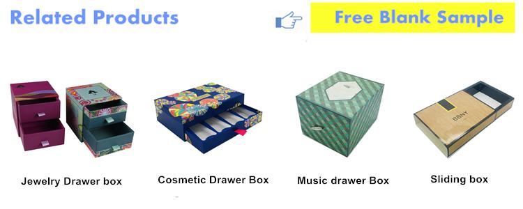 Custom printed paper small packaging gift display drawer recycled cardboard box