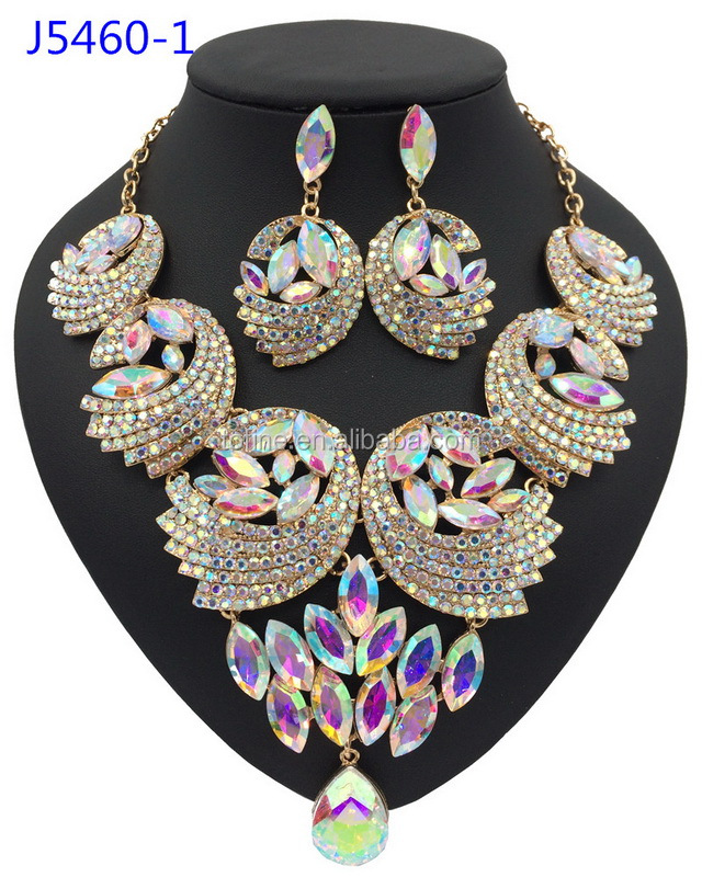 Beautiful crystal bead necklace designs african beads jewelry set for women